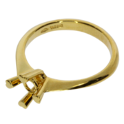 Ring with 4 heart-shaped prongs 750/- yellow gold