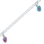 Bracelet belcher with pink and turquoise hearts 925/-