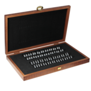 Ring gauge set in a wooden box, half round on the inside (2 x 36 pcs.)