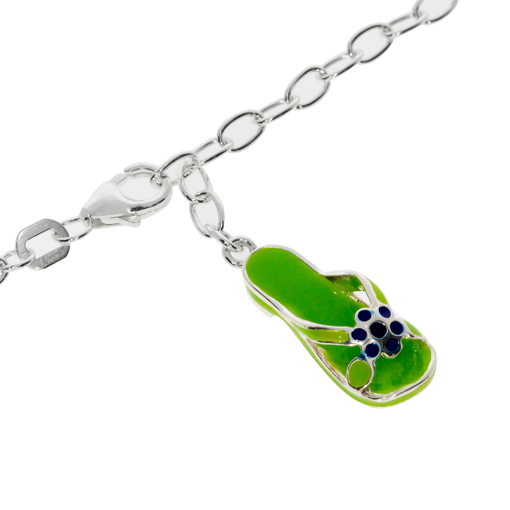 Ankle bracelet trace with a green sandal pendant 925/-