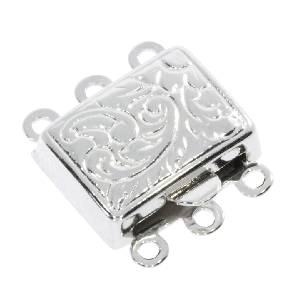 Square-shaped clasp with antique pattern 925/-, 3 chain rows